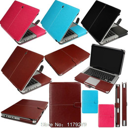 Wholesale Leather Laptop Sleeve Macbook Pro - High quality PU Leather Sleeve Case For Macbook Pro 13 A1278 Pro 15 A1286 Cover Bag Protector For Mac 13.3 15.4 inch