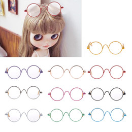 Wholesale Kids Clear Glasses - Dolls Accessories 1 6 Pair Round Frame Clear Lens Glasses Eyewear for 12'' BJD SD Dolls Colorful Xmas Gift Kids Toy