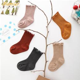 Wholesale Vertical Stripe Shorts - Spring Baby vertical stripes knitting socks girls ruffle princess short socks infant cotton legs children breathable comfortable sock Y4073