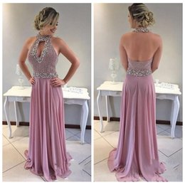 Wholesale Keyhole Halter Top - 2018 Evening Dresses Wear Arabic Halter Keyhole Beading Crystal Top Sleeveless Backless Sweep Train A Line Vestido Party Dress Prom Gowns