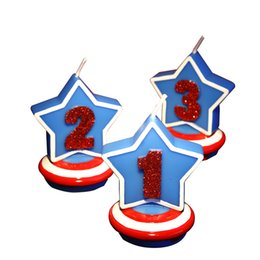 Wholesale Numbers Decorations Cake - Five -Pointed Star Candles Smokeless Child Birthday Candle Number Decorative Birthday Candles For Cake Decoration