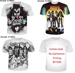 Wholesale Top Couple Tshirt - New Fashion Couples Men Women Unisex Kiss Band Funny 3D Print No Cap Casual tshirt T-Shirts Tee Top T6