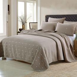 Bestickte tagesdecken online-Braun bestickte Steppdecke Set 3 STÜCKE gesteppte gewaschen Baumwolle Quilts Tagesdecke für Bettbezüge Kissenbezug Decke King Size Bettdecke