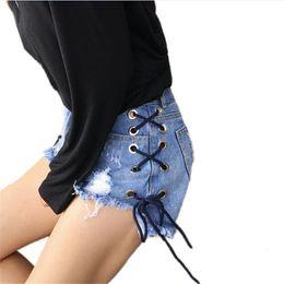 le gambe ampie di pantaloncini delle donne Sconti Summer Womens Hole Strappato Shorts in Denim Casual Casual Hotpants Femminile Vita alta Shorts Jeans a gamba larga Short TT2415