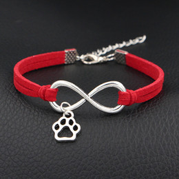 Wholesale Paw Print Bracelets - AFSHOR 2018 New Cute Mini Dog Paw Prints Charms Bracelet Antique Silver Love Infinity Leather Bracelets For Women Fashion Jewelry