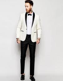 Tuxedo bianco slim fit nero Tuta uomo pantalone Custom Made A button Dinner Suit Wedding Suit (giacca pantaloni)