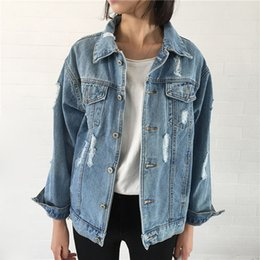 donna di jean lungo jean Sconti Giacca donna vintage manica lunga allentata giacche di base con foro bottone blu jeans cappotto casual ragazze outwear abbigliamento autunno top
