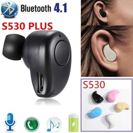 Bluetooth auriculares mp3 online-S530PLUS Mini Wireless in Ear Auricolare Bluetooth Auricolare Vivavoce Cuffie Blutooth Stereo Auricolari Auricolari Cuffie Telefono