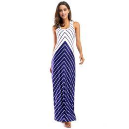 Wholesale Cross Back Maxi - Striped Beach Dress Women 2018 Summer Maxi Dresses Cross Open Back Sleeveless Wave Patchwork Long Dress Floor Length