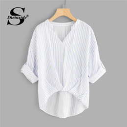 Wholesale asymmetrical hem tops - Sheinside Striped Dip Hem Shirt Women Rolled Up Sleeve V Neck Casual Top 2018 Summer Asymmetrical Office Work Blouse