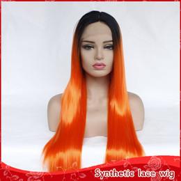Dunkelorange perücken online-Neue Halloween Cosplay Ombre Orange Perücke Dark Roots Lange Gerade Perücken Natürliche Haaransatz Hitzebeständige Synthetische Lace Front Perücken Für Frauen