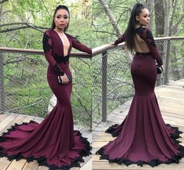Wholesale Evening Gowns For Girls - Sexy Burgundy Mermaid Long Sleeves Prom Dresses 2018 New Sexy Backless Lace Sequins Evening Gowns 2K18 For Black Girl Arabic Prom Gowns