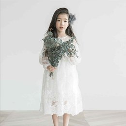 Wholesale Long Lace Dress Wholesale - 2018 girl white lace dress kids girl long sleeve lace dress child princess Spring summer clothes dresses