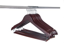 Wholesale Locking Pants - High Quality Hangers Wooden Hangers Beautiful Sturdy Suit Coat Hangers with Locking Bar Mahogany Clothes-rack Joy Home