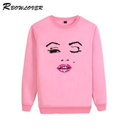 Wholesale Lips Print Sweatshirt - RBOWLOVER 2018 Women's Sweatshirts with Space Cotton Pullovers Print Twinkle Eyes Red Lips Hoodies