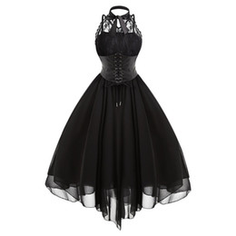 2019 swing nero Gamiss 2017 Gothic Bow Party Dress Donna Vintage nero senza maniche incrociate posteriore pannello di pizzo corsetto Swing Dress Robe Vestidos Femme sconti swing nero