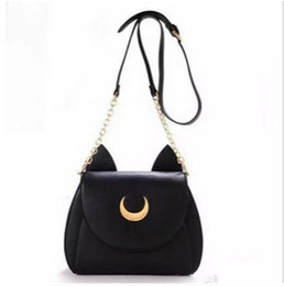 sailor moon luna bag Promo Codes - Sailor Moon Bags Summer Limited For Ladies Handbag With PU Leather Black White Cat Luna Moon Women Messenger Crossbody Bag
