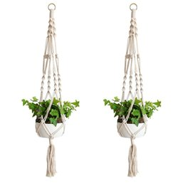 Wholesale Flower Legs - Macrame Plant Hanger Indoor Outdoor Hanging Planter Basket Cotton Rope Home Garden Balcony Decoration 4 Legs 40 Inch