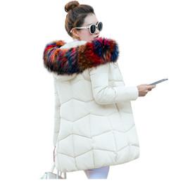 lunghe giacche calde con cappuccio donna Sconti Winter Jacket Women 2017 Fashion Winter Coat Women Collo in pelliccia finta con cappuccio Piumino lungo Parka Calda capispalla femminile