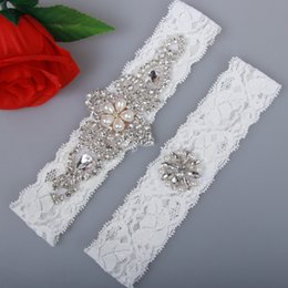 Wholesale Cheap Sexy Legging - 2 Pieces set Bridal Garters for Bride Lace Wedding Garters Sexy Real Picture Pearls Glass Crystals stones Handmade Cheap Wedding Leg Garters