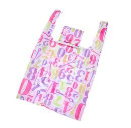 f2f118e65e8 floral full print 190T polyester fabric handbag portable nylon folding  environmental shopping bag foldable reusable shopping bags