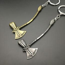 Wholesale Avengers Jewelry - The Avengers 3 Hammer Keychain Movie Jewelry Stormbreaker Storm Metal Pendant Figure Key Chain Bronze Silver color KKA5072