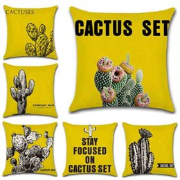 Wholesale Set Covers For Sofa Cushions - New Arrival Yellow Cactus Set Pillowcase Throw Pillow Case Sofa Car Cushion Cover 45*45CM Home Cafe Office Decor Gift for Housewarming Party