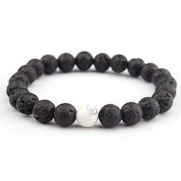 Wholesale pine beads - White Pine Natural Bangle 8 Mm Volcanic Stone Bracelet Seven Chakra Energy Yoga Beads Bracelet For Women Men Support FBA Drop Shipping H544F