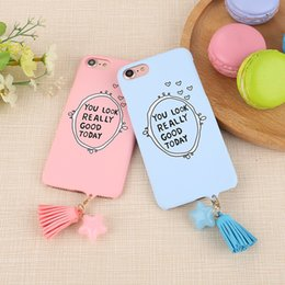 Wholesale Nice Pcs - Smile Nice Face Matte Ultrathin Hard PC Cute Back Case for iPhone 6 6s 7 8 Plus Candy Color Cartoon Lovers Star Tassel Cover 1pc 33color