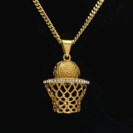 Wholesale Rhinestone Basketball Jewelry - Mens hip hop jewelry crystal basketball frame shape pendants European and American style rhinestone hiphop chain necklaces accessorie