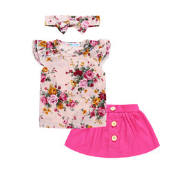 Wholesale Cute Babies Red Roses - 1-4T Baby Girls Floral outfits 3pc set bow headband+falbala short sleeve T shirt+rose red skirt cute toddlers summer clothing