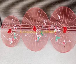 Wholesale handicraft cloth - 50pcs lot Wedding Party Hand-painted Flowers colorful silk Cloth parasol Clear Chinese handicraft umbrella For children Adult