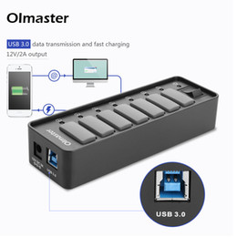 Wholesale macbook power charger - Oimaster USB 3.0 Hub 7 10 Port Fast Charger 12V 2A Portable Splitter Laptop PC Macbook MobilePhone Tablet with Power Adapter