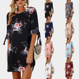 Argentina 2018 mujeres vestido de verano estilo boho estampado floral playa de gasa vestido túnica vestido de fiesta flojo mini vestido de fiesta más tamaño 5XL supplier xl boho dresses plus size Suministro