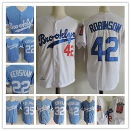 Wholesale Cool Men S - Mens Clayton Kershaw cool base Jersey Stitched #32 Sandy Koufax #35 Cody Bellinger #42 Jackie Robinson BROOKLYN Throwback baseball Jerseys S