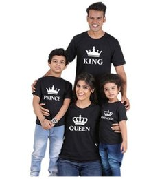 Wholesale matching mommy daughter dresses - family matching clothes outfits look father mother daughter son crown tshirt clothing daddy mommy and me baby girl kids dresses