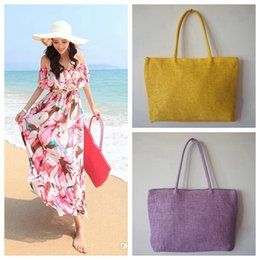 Wholesale Ladies Straw Handbags - Women Summer Straw Weave Shoulder Tote Shopping Lady Beach Bag Purse Handbag Straw Shoulder Tote Shopper Purses free shipping