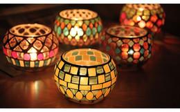 luzes de chá de marfim Desconto 6 Estilo Esférico Castiçais De Vidro De Vidro Mosaico Crack Candlestick Home Decor Jantar Presentes da Festa de Casamento Sem Vela W7628