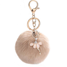 green resin ring Coupons - Llaveros Fake Rabbit Fur Ball Fluffy Keychain Pompom Key Chain Chaveiro Key Ring Ballet Angel Girl Pompon Women Bag Accessories