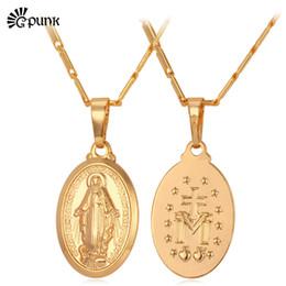 2019 großhändler edelstahl schmuck medaille anhänger jungfrau maria halskette gold farbe frauen dame schmuck trendy kreuz christentum colar halsketten