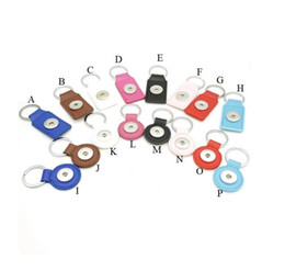 ring keychains NZ - Noosa Ginger 18mm Snap Button Keychains Jewelry PU Leather Snap Keychain Various Colors Snap Key chain Key Rings for women men