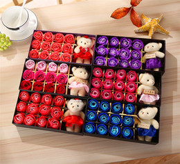 Wholesale Valentine Soaps - Romantic Rose Soap Flower With Little Cute Bear Doll 12pcs Box Gift For Valentine Day Giftsfor Wedding Gift or birthday Gifts