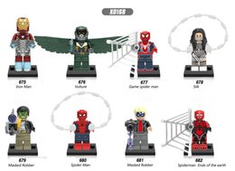 Wholesale Spider Man Mask Wholesale - 120pcs Mix Lot Super Heroes Series Minifig Silk Iron Man Vulture Game Spider Man Masked Robber XINH X0168 Mini Building Blocks Figures