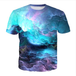 Verano más nueva moda para mujer / para hombre Nebulosa del espacio Galaxy divertido 3D creativo Casual Hip Hop camiseta DS00191 desde fabricantes