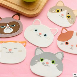Wholesale Mug Heating Pad - Cute Cat Shaped Silicone Coaster Coffee Cup Mug Pad Heat Resistant Mat Table Decoration Accessories Kitchen Dining Bar Tools