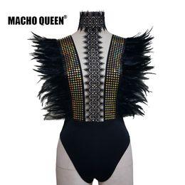 2019 roter königinkragen Holographische Festival Burning Man Feather Bodysuit Kleidung Outfits tragen Frauen schwarzer Spitze Chocker Bodysuit Party Rave Kostüme