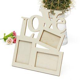 Diseños para marcos de cuadros online-Niños marco de fotos de madera ahuecado diseño amor forma marcos de fotos DIY edding decoración del partido suministros regalo 2zx B