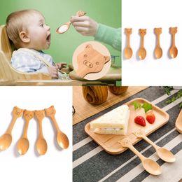 raccolta utensili Sconti Simpatici animali del fumetto cucchiai di legno naturale piccoli cucchiai di legno mini strumenti per bambini collezione regalo kicthe strumento da tavola FFA267 4 stili