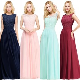 Wholesale floor straps - Lace Applique Elegant Bridesmaid Dresses Wedding Guest Dress Sheer Back Zipper Chiffon Long Formal Gowns Cheap Under $50 CPS489