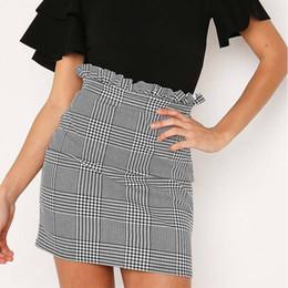 88abb4564 2018 Summer Autumn Sexy Skirt Women Bottoms Fashion plaid A-line Ruffles  Sexy Club Regular Outwear Women Skirts female